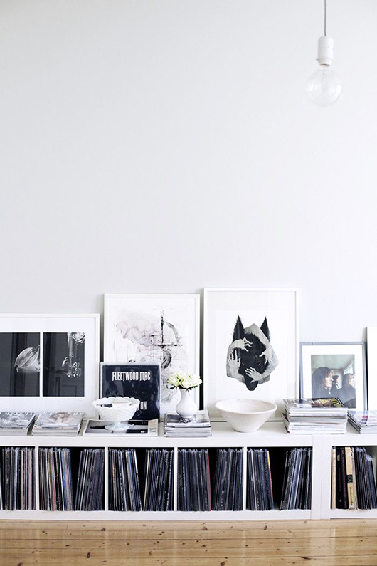 low bookcase displaying records and black and white homewares / sfgirlbybay