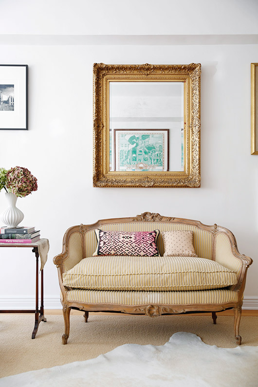striped settee and vintage mirror / sfgirlbybay