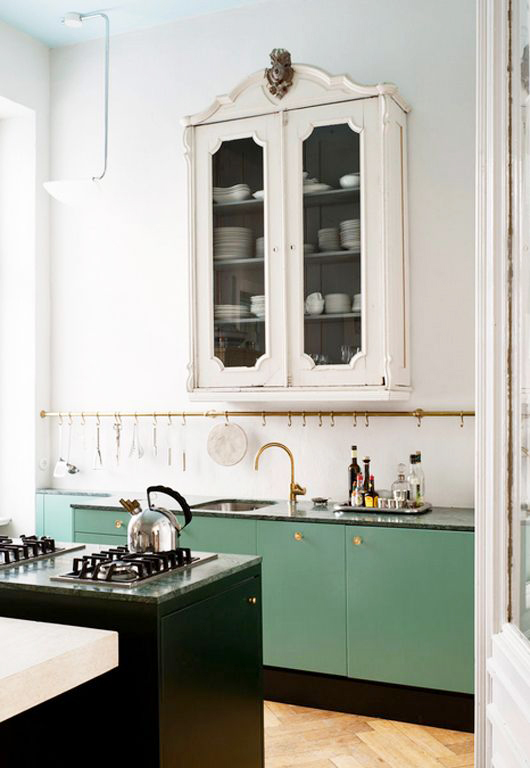 ornate white cabinet above minty green lower kitchen cabinets / sfgirlbybay