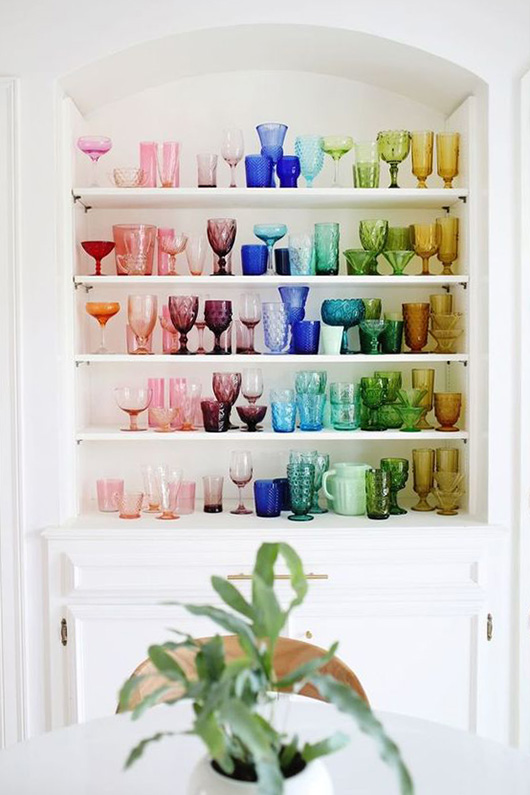 white shelves with colorful vintage glasses / sfgirlbybay