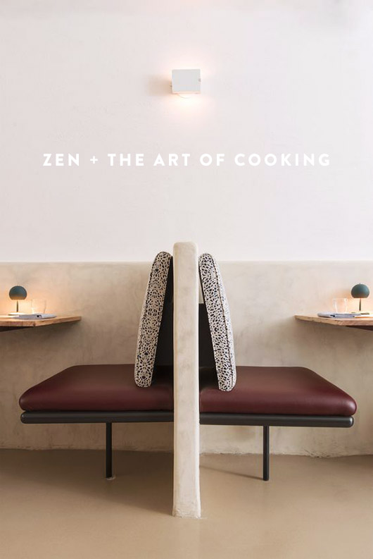 image of sleek zen-like dining booths with tiny task lamps with the words zen + the art of cooking on it / sfgirlbybay