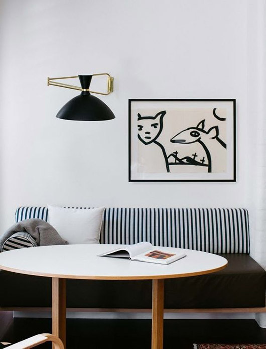 modern dining nook with black and white decor / sfgirlbybay