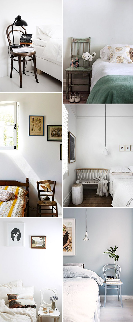 chairs and benches as side tables in bedrooms / sfgirlbybay