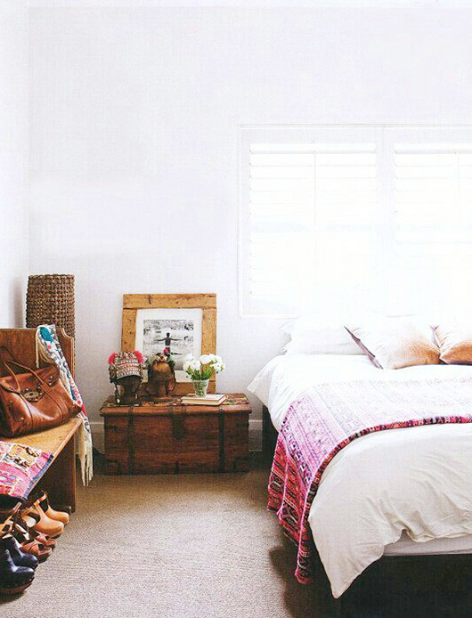 bedroom with boho modern decor. / sfgirlbybay