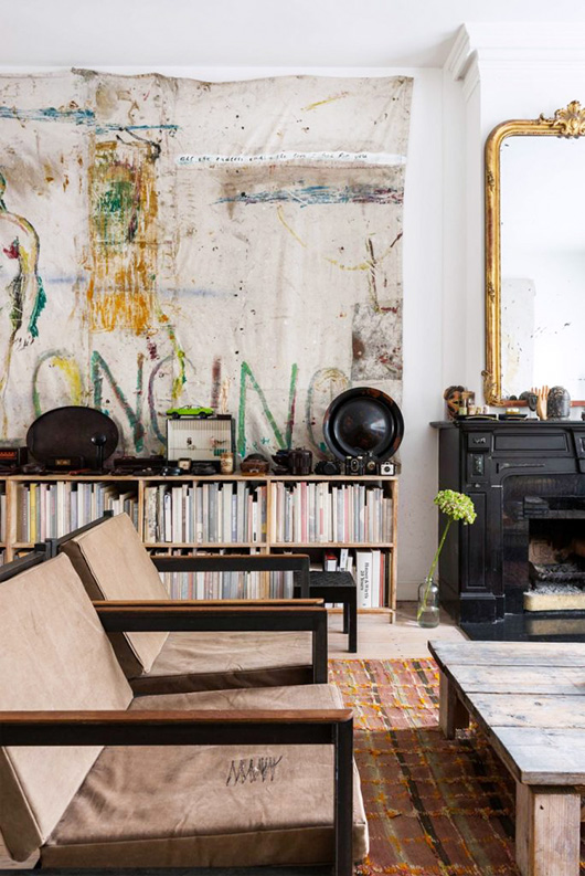 large artwork on canvas in artist's amsterdam home via vtwonen. / sfgirlbybay