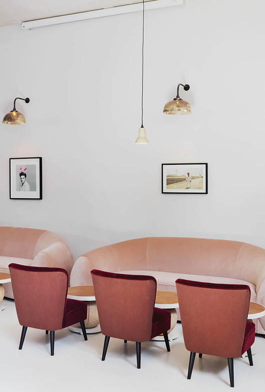 pink and red upholstery at no.197 chiswick fire station / sfgirlbybay