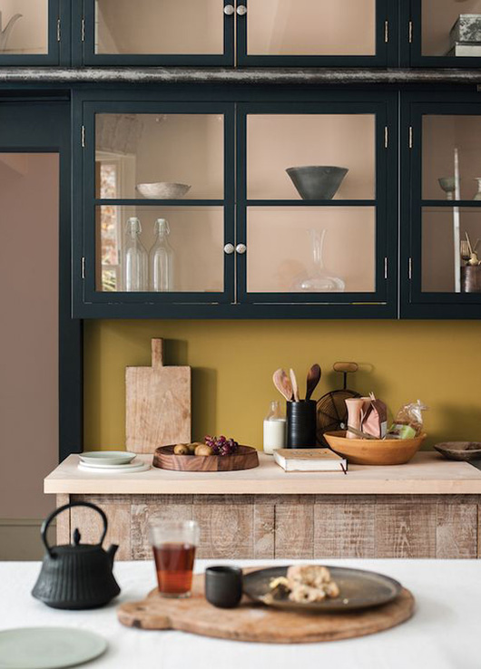 dark green kitchen cabinets with glass doors / sfgirlbyby