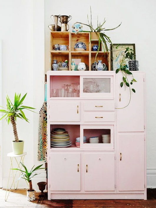 blush cabinet with glass doors. / sfgirlbybay