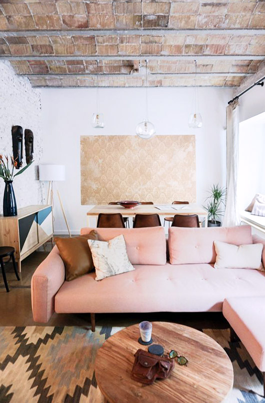 blush tufted modern sectional. / sfgirlbybay