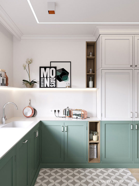 green and white kitchen cabinetry. / sfgirlbybay