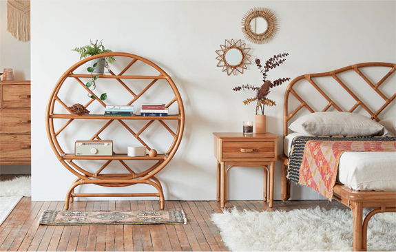 rattan bookshelf and bed from urban outfitters. / sfgirlbybay