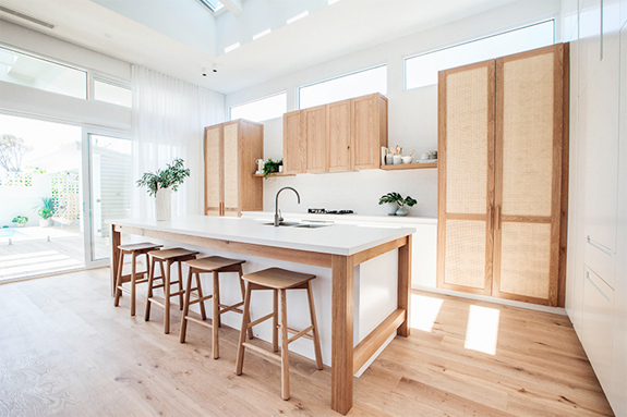 modern kitchen design with cane cabinetry. / sfgirlbybay