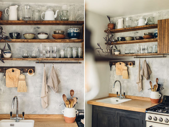 open shelving created with recycled floorboards. / sfgirlbybay