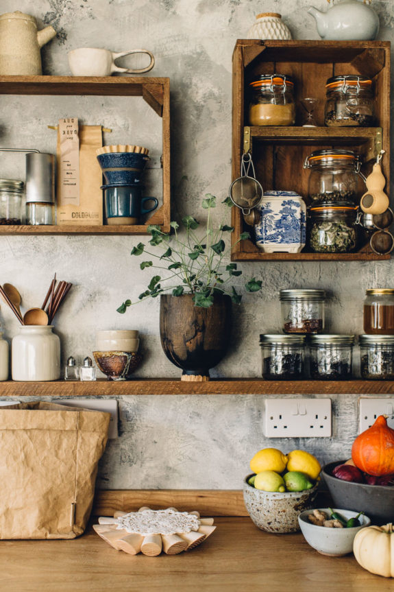 recycled crates as kitchen shelves. /sfgirlbybay