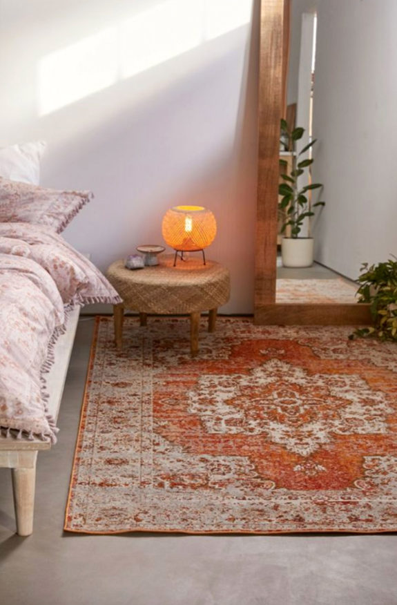 cozy bohemian bedroom with pops of coral. / sfgirlbybay