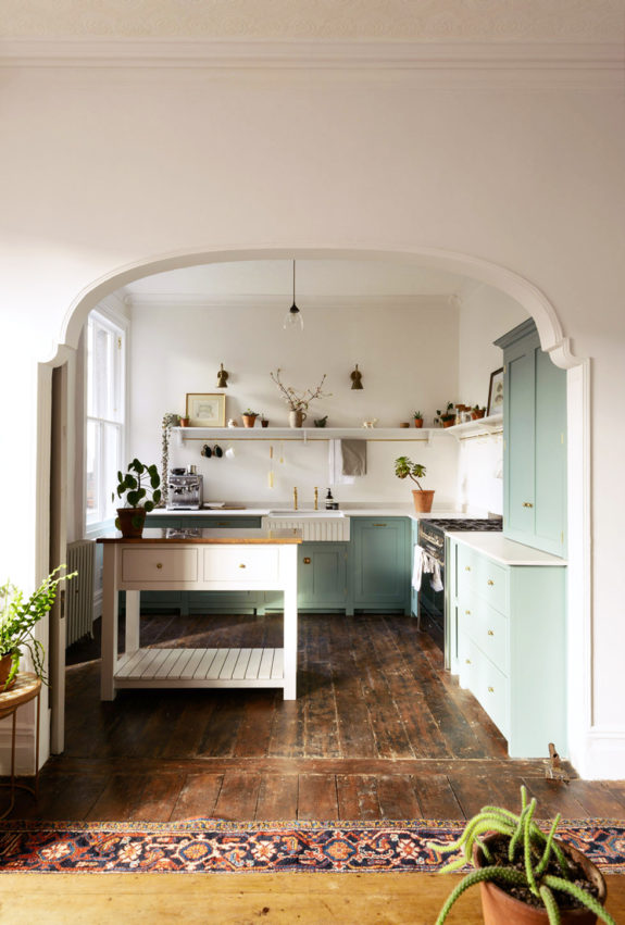 devol kitchen with mint green cabinetry. / sfgirlbybay