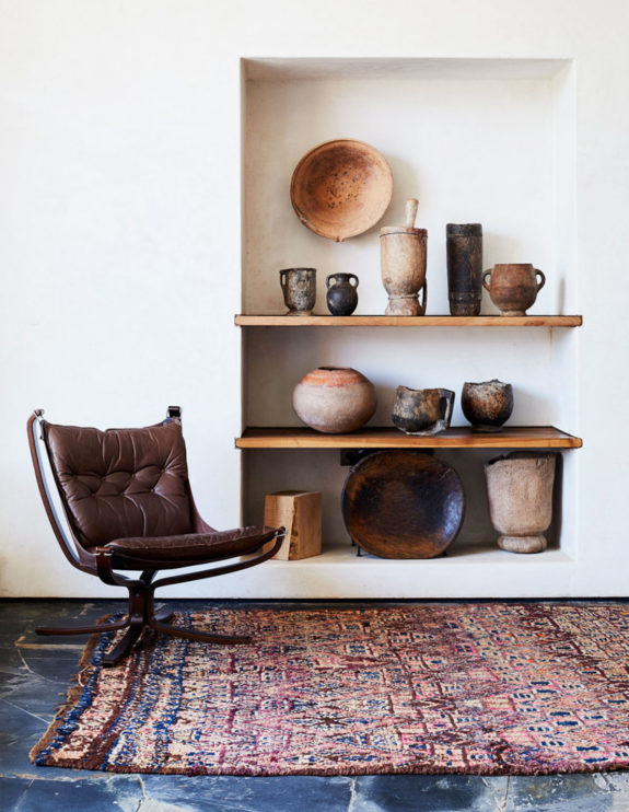 built-in nook with rustic wood shelves and ceramics. / sfgirlbybay