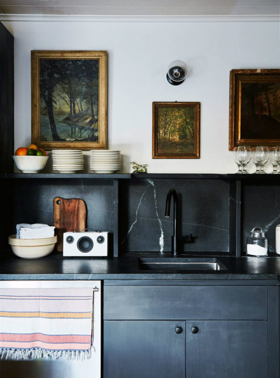 dark black kitchen backsplash and cabinetry. / sfgirlbybay