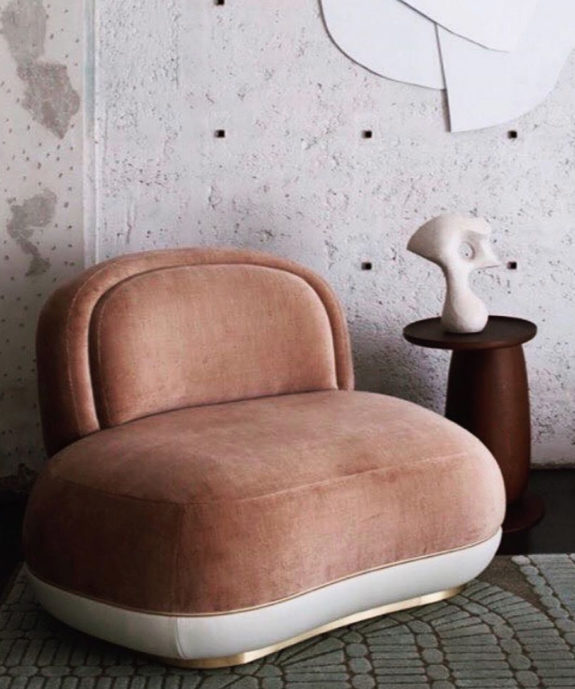 uniquely shaped pink and cream velvet chair. / sfgirlbybay