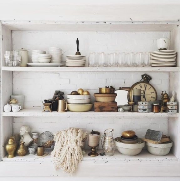 vintage decor and ceramic dishes styled by designer leanne ford. / sfgirlbybay