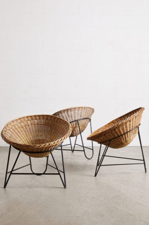 woven wicker chairs with wrought iron bases. / sfgirlbybay