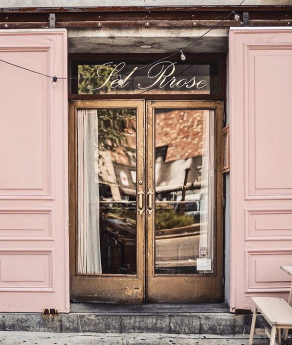 pink exterior with french doors at sel rrose in new york city. / sfgirlbybay